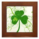 St Paddys Day Fancy Shamrock Framed Tile