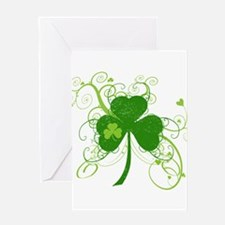 St Paddys Day Fancy Shamrock Greeting Card