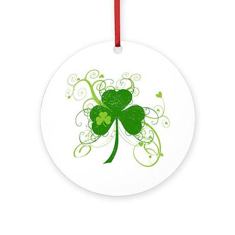 St Paddys Day Fancy Shamrock Round Ornament