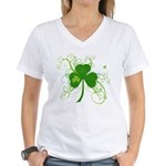 St Paddys Day Fancy Shamroc Women's V-Neck T-Shirt