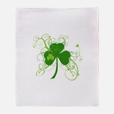 St Paddys Day Fancy Shamrock Throw Blanket