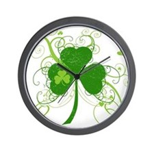 Cool St Patricks Day Shamrock Wall Clock