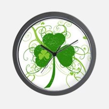 St Paddys Day Fancy Shamrock Wall Clock