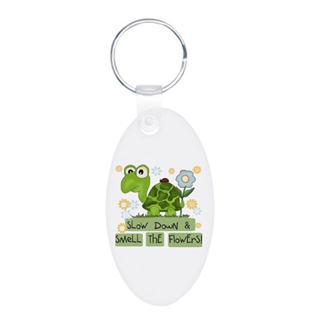 Turtle Slow Down Aluminum Oval Keychain