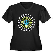 Peace Burst Women's Plus Size V-Neck Dark T-Shirt