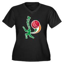 Cricket India Women's Plus Size V-Neck Dark T-Shir