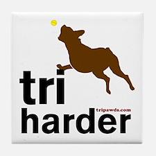 Tri Harder Boxer Tile Coaster