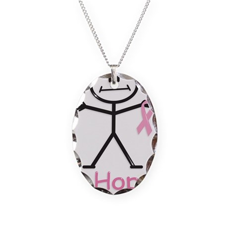 Breast Cancer Pink Ribbon Necklace Oval Charm
