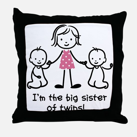 Big Sister of Twins Throw Pillow