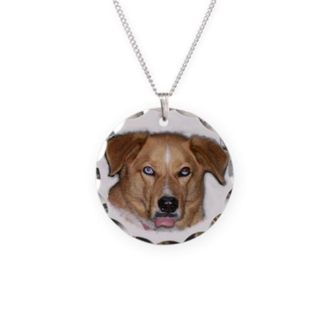 Dog Sticking Out Tongue Necklace Circle Charm