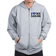 I Love My Sailor Zip Hoodie