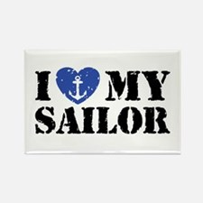 I Love My Sailor Rectangle Magnet