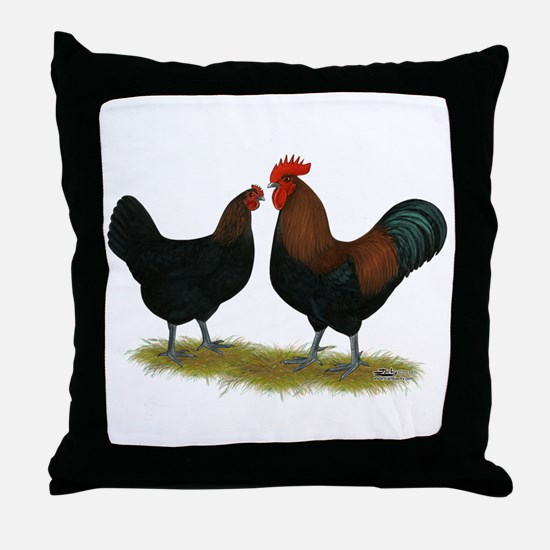 Marans Black Copper Throw Pillow