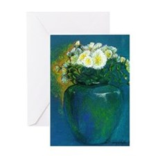 Mums in Vase Greeting Card