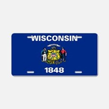 """Wisconsin Flag"" Aluminum License Plate"