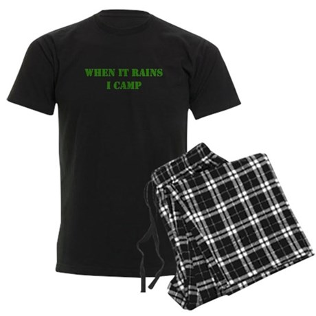 When it rains, I camp Men's Dark Pajamas