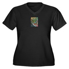 Valley Cat 42 Women's Plus Size V-Neck Dark T-Shir