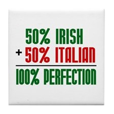 50% Irish + 50% Italian = 100 Tile Coaster