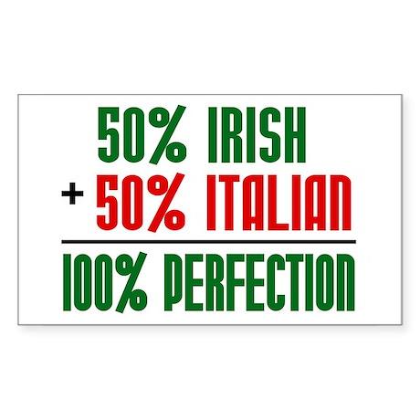 50% Irish + 50% Italian = 100 Sticker (Rectangular