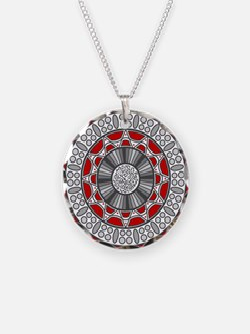 Aztec Meets Alien Necklace Circle Charm