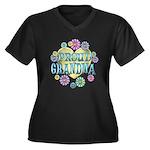 Proud Grandma Women's Plus Size V-Neck Dark T-Shir