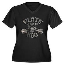 PLATE HOG Women's Plus Size V-Neck Dark T-Shirt