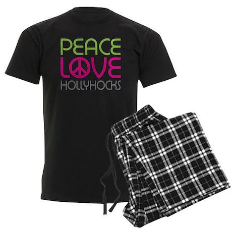 Peace Love Hollyhocks Men's Dark Pajamas