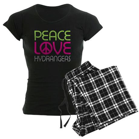 Peace Love Hydrangeas Women's Dark Pajamas