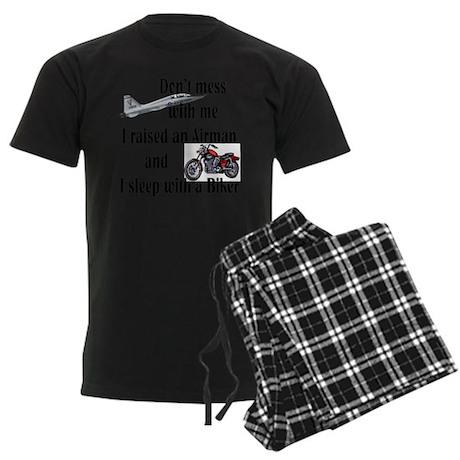 Raised Airman Sleep Biker Men's Dark Pajamas