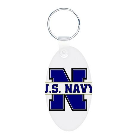 U S Navy Aluminum Oval Keychain