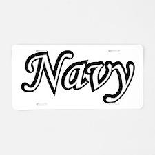 Black and White Navy Aluminum License Plate
