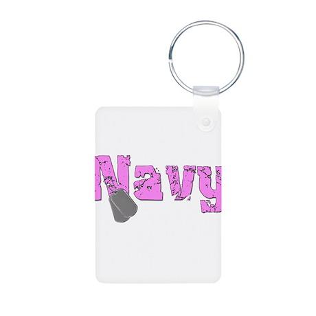 Navy Mom Aluminum Photo Keychain