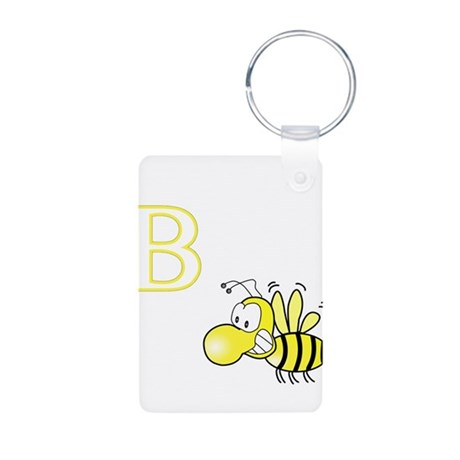 B is for Bee Aluminum Photo Keychain