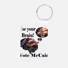 Use your brain vote McCain Aluminum Photo Keychain