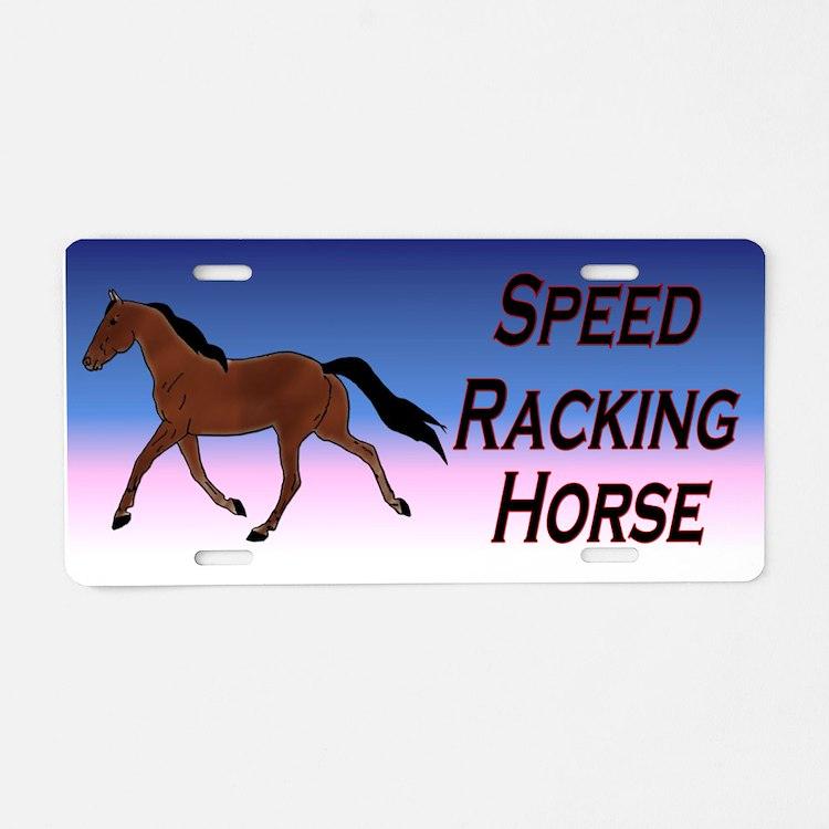 Speed Racking Horse Aluminum License Plate