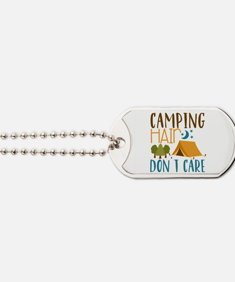 Camping Hair Don't Care Dog Tags