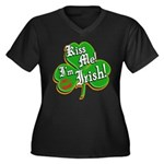 Kiss Me I'm Irish Women's Plus Size V-Neck Dark T-