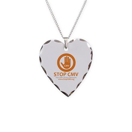Stop CMV Logo Necklace Heart Charm