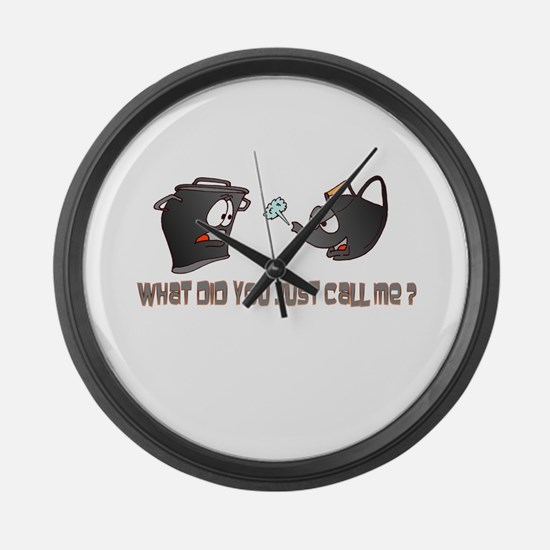 Pot calling the Kettle Black Large Wall Clock