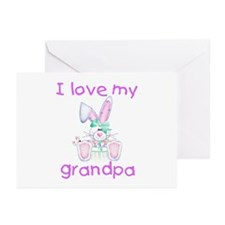 I love my grandpa (girl bunny) Greeting Cards (Pac