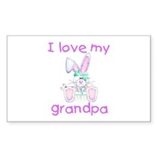 I love my grandpa (girl bunny) Sticker (Rectangula