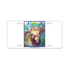 Cow, Bright, Colorful, Aluminum License Plate