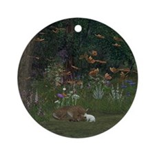 Fawn and Rabbit Ornament (Round)