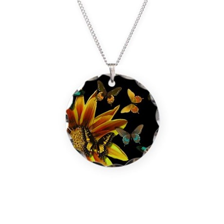Butterfly Gardens Necklace Circle Charm