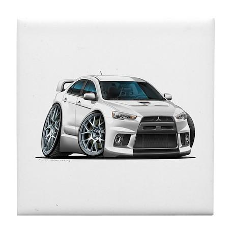 Mitsubishi Evo White Car Tile Coaster