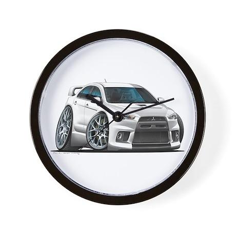 Mitsubishi Evo White Car Wall Clock