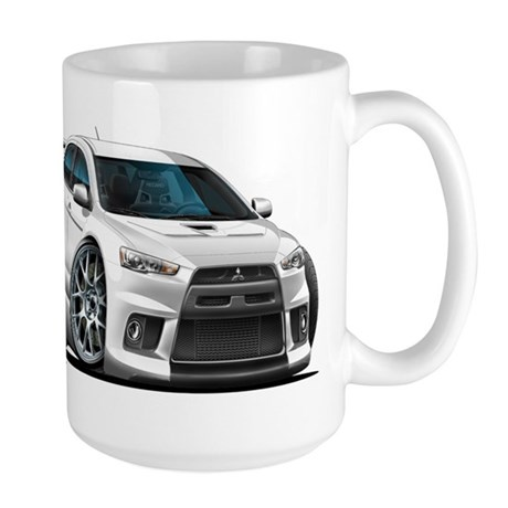 Mitsubishi Evo White Car Large Mug