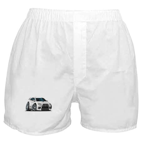 Mitsubishi Evo White Car Boxer Shorts