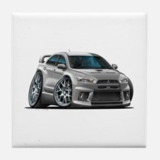 Mitsubishi Evo Silver Car Tile Coaster