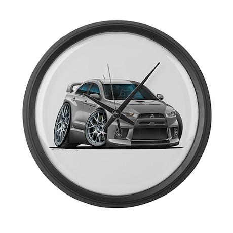 Mitsubishi Evo Silver Car Large Wall Clock